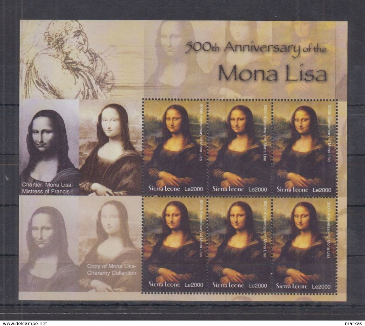 Q64. MNH Sierra Leone Art Painting Mona Lisa - Arts
