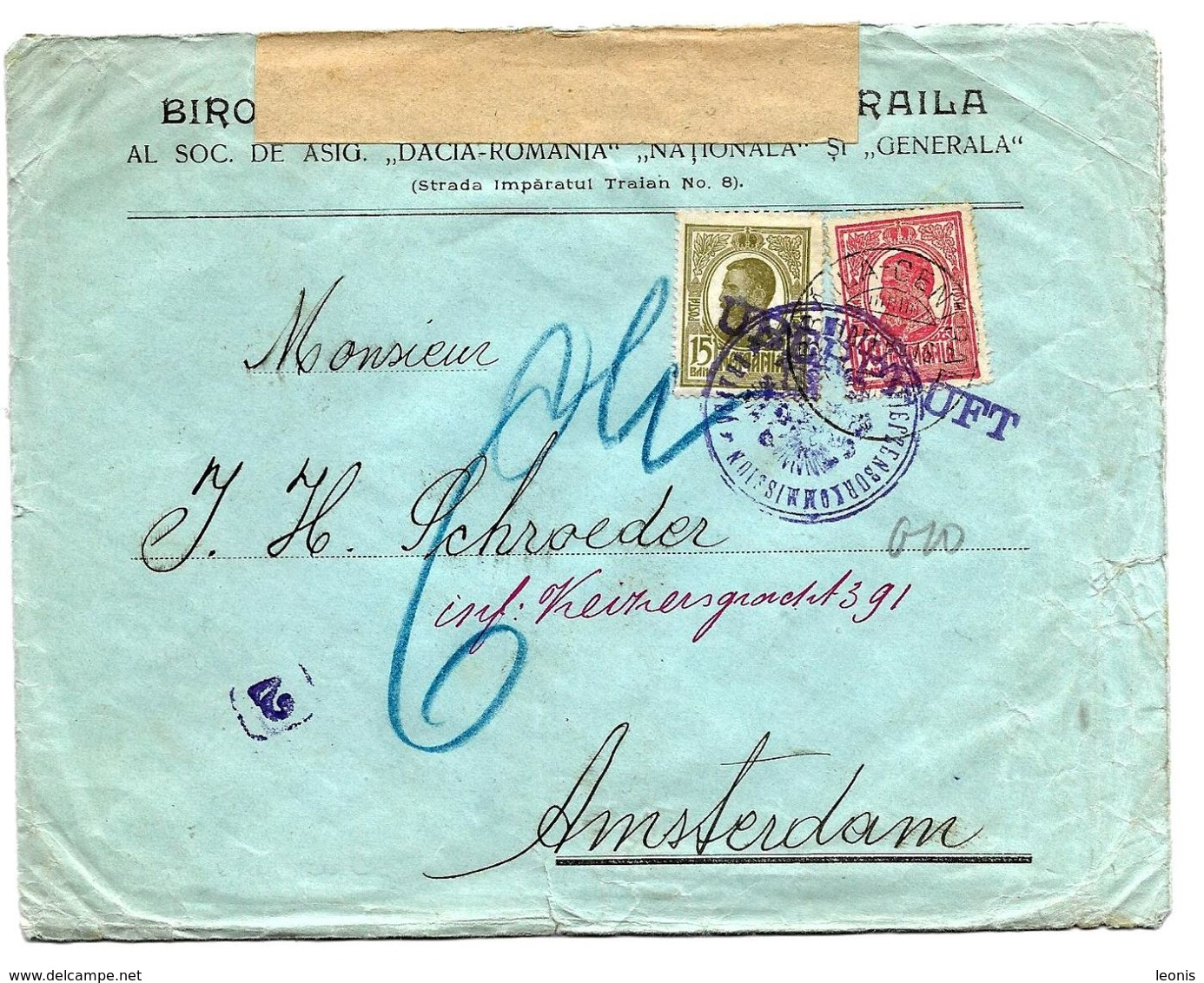 N° Yv. 218-220 S/Lettre Commerciale De BRAILA V. Amsterdam. DOUBLE CENSURE. - World War 1 Letters