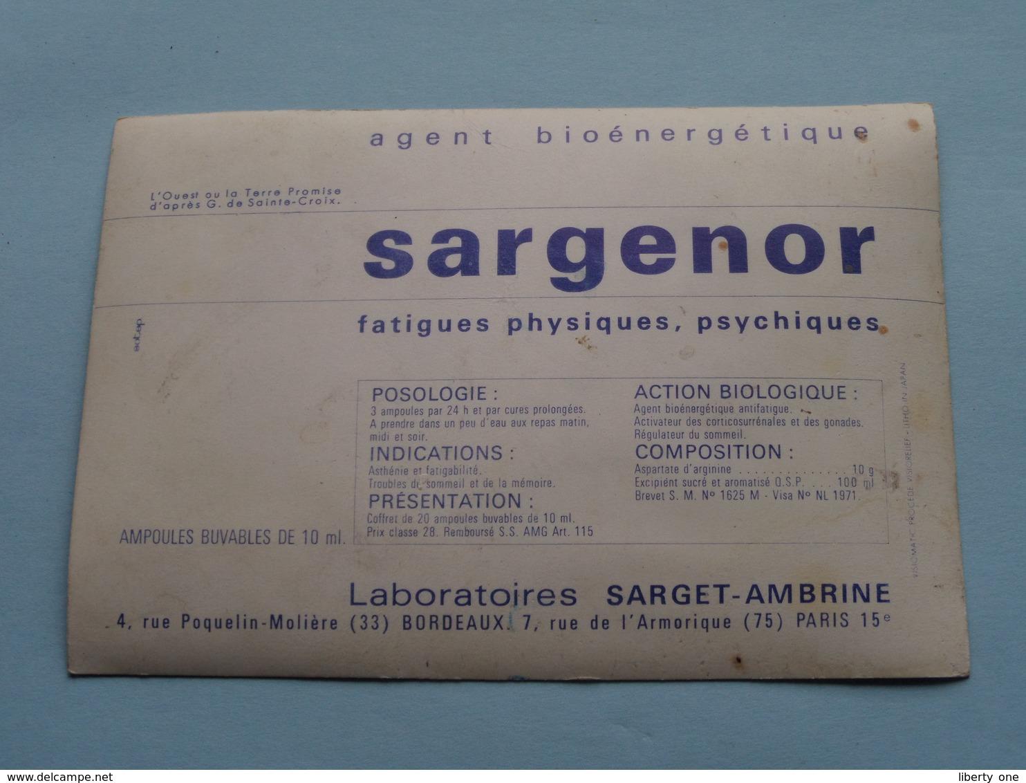 SARGENOR Labo Sarget-Ambrine Paris ( Visiomatic/Relief Litho Japan ) Anno 19?? ( Voir Photo ) ! - Publicidad