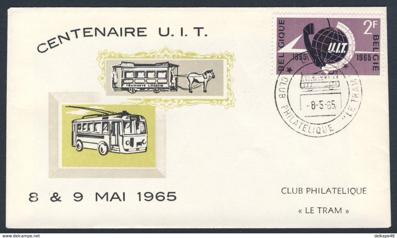 Belgie Belgique Belgium 1965 FDC + Mi 1390 YT 1333 - Cent. I.T.U. - Union Int. Des Télecommunications / Fernmeldeunion - Treinen