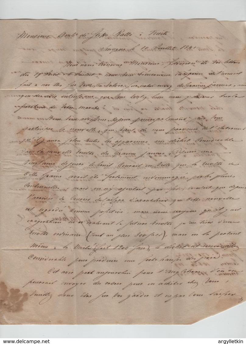 OTTOMAN SMIRNA TRIESTE DISINFECTED ENTIRE LETTER 1841 - 1837-1914 Smyrna