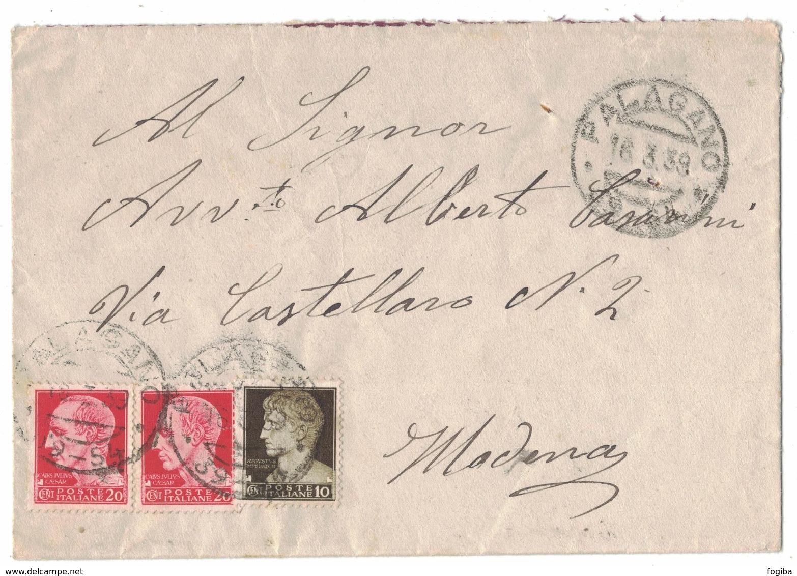 TY45   Storia Postale Lettera 1939 - Annullo Frazionario Palagano (39-54) - 1900-44 Vittorio Emanuele III