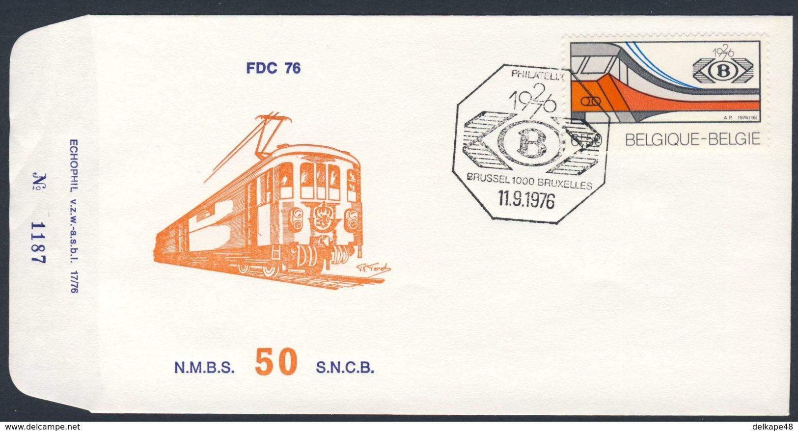 Belgie Belgique Belgium 1976 FDC + Mi 1877 YT 1819 - 50. Ann. Sociéte Nationale Chemins De Fer Belges - SNCB / NMBS/ - Treinen