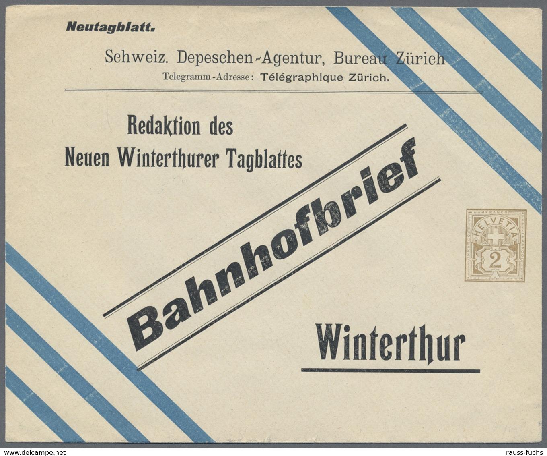 """Beleg 1907, 2 C. Braun Privat-GSU """"Bahnhofsbrief"""" Mit Eingedruckter Empfaenger-Adresse In Winterthur, Seltene Privatganz - Unclassified"""