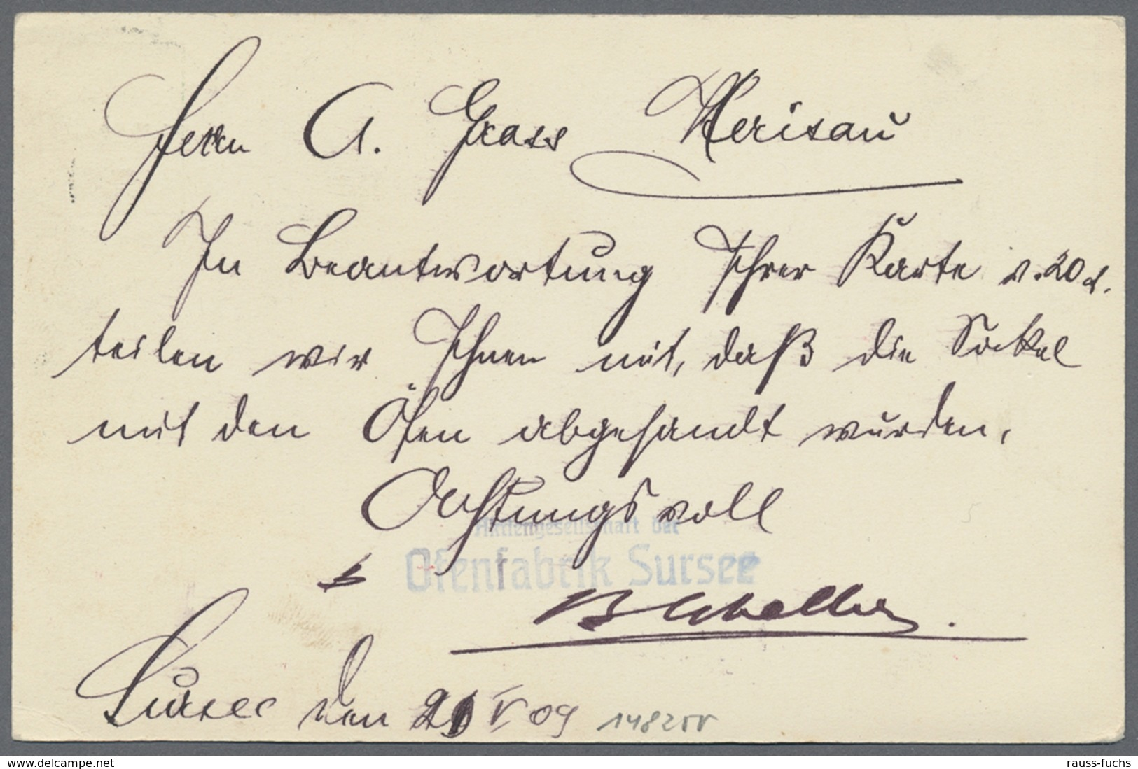 "Beleg 1909, 5 C. Privatpostkarte ""Fabrique De Fourneaux Sursee"" Mit Vs. Blauer Abb. ""Koch In Kueche, Kind Vor Ofen Und F - Unclassified"
