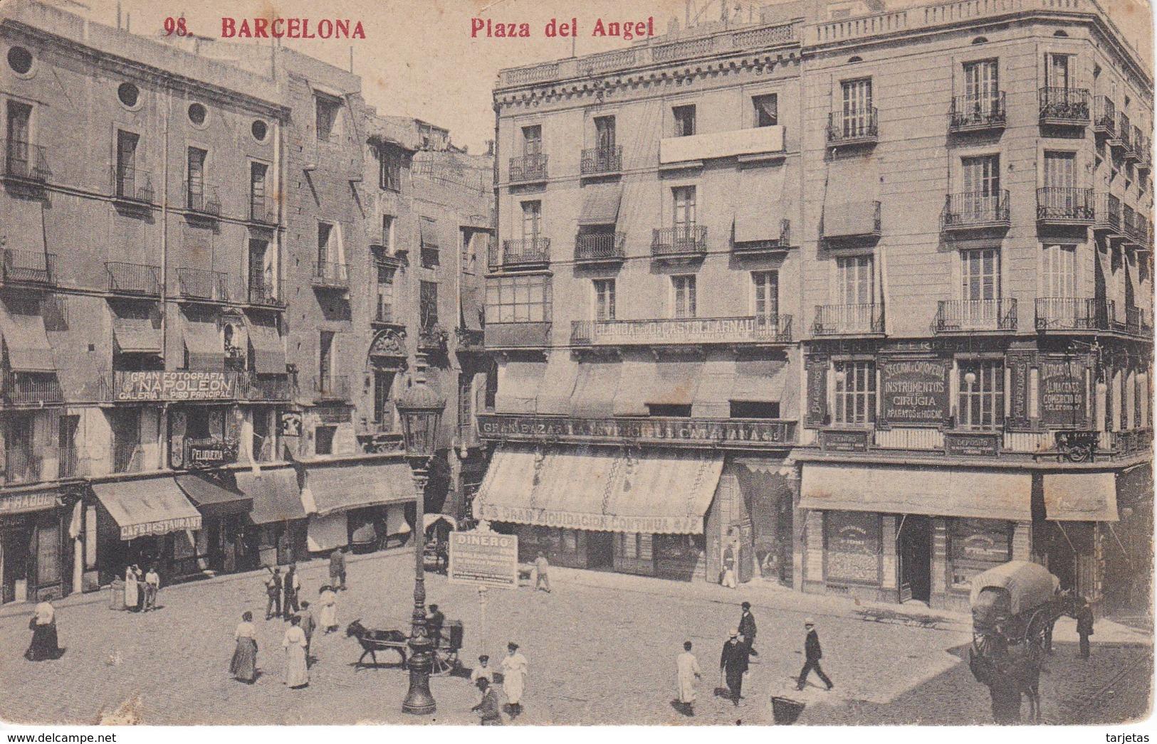 98 POSTAL DE BARCELONA DE LA PLAZA DEL ANGEL (FOTOTIPIA MADRIGUERA) - Barcelona