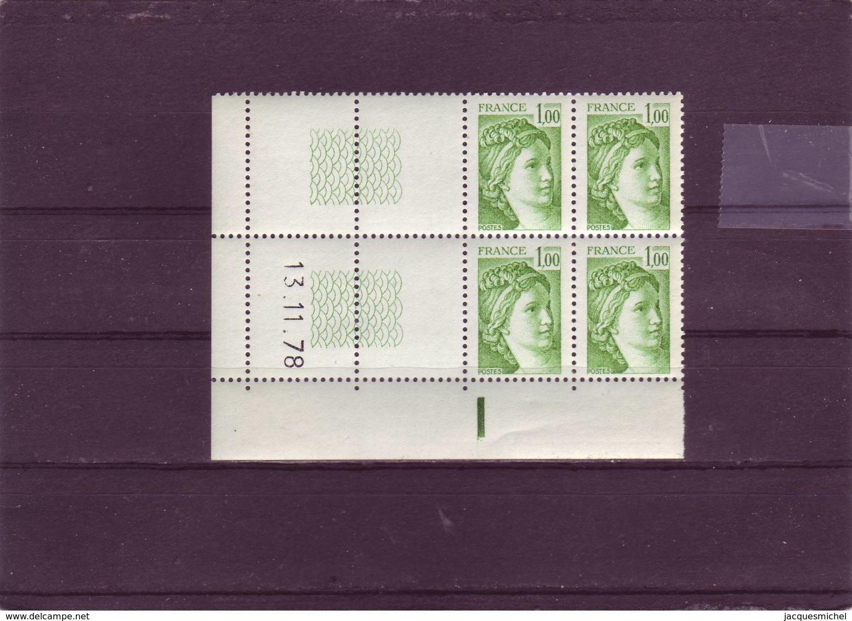 N° 1973- 1,00F Sabine De GANDON - 10° Tirage Du 2.11. 78 Au 12.12.78 - TD3.4 -  (RE) - Coins Datés