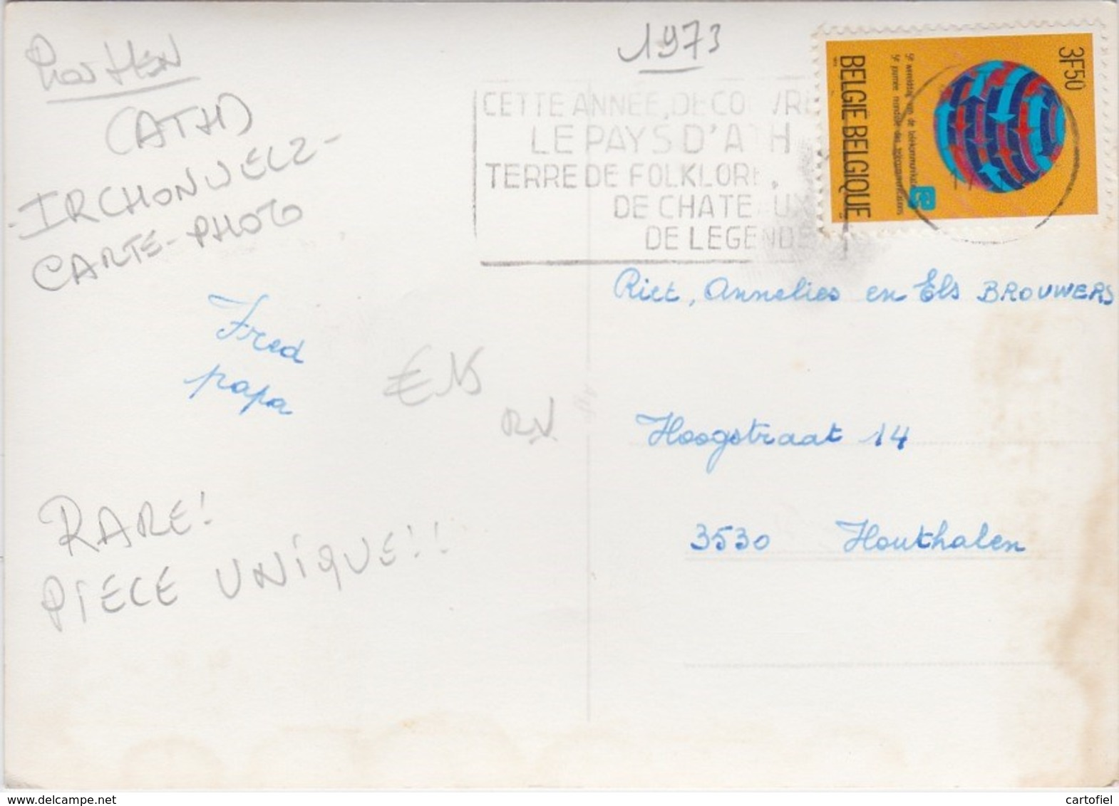 IRCHONWELZ-INTERNATIONAL MUSIC CAMP OF JEUNESSES MUSICALES-CARTE-PHOTO-ENVOYEE-1973-VOYEZ 2 SCANS-RARE - Ath