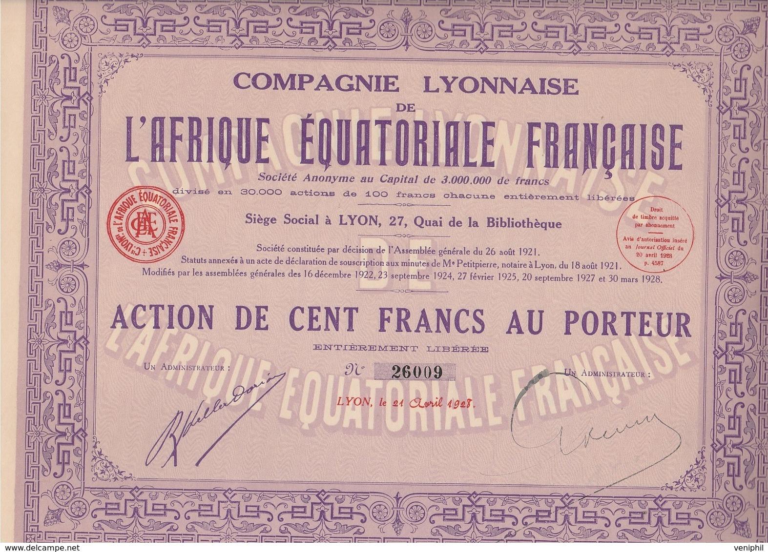 LOT DE 5 ACTIONS DE 100 FRS - COMPAGNIE LYONNAISE DE L'AFRIQUE EQUATORIALE FRANCAISE -1928 - Afrique