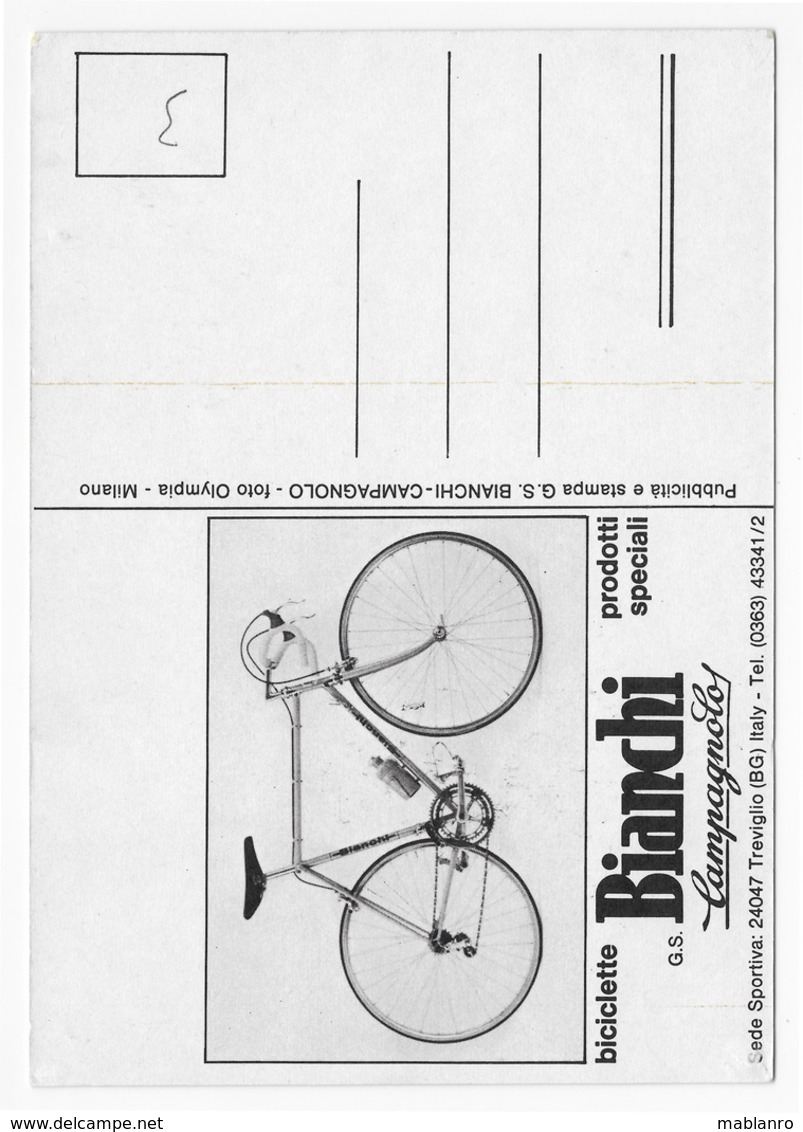 CARTE CYCLISME MARINO BASSO SIGNEE TEAM BIANCHI 1973 FORMAT 12 X 16,5 - Cyclisme