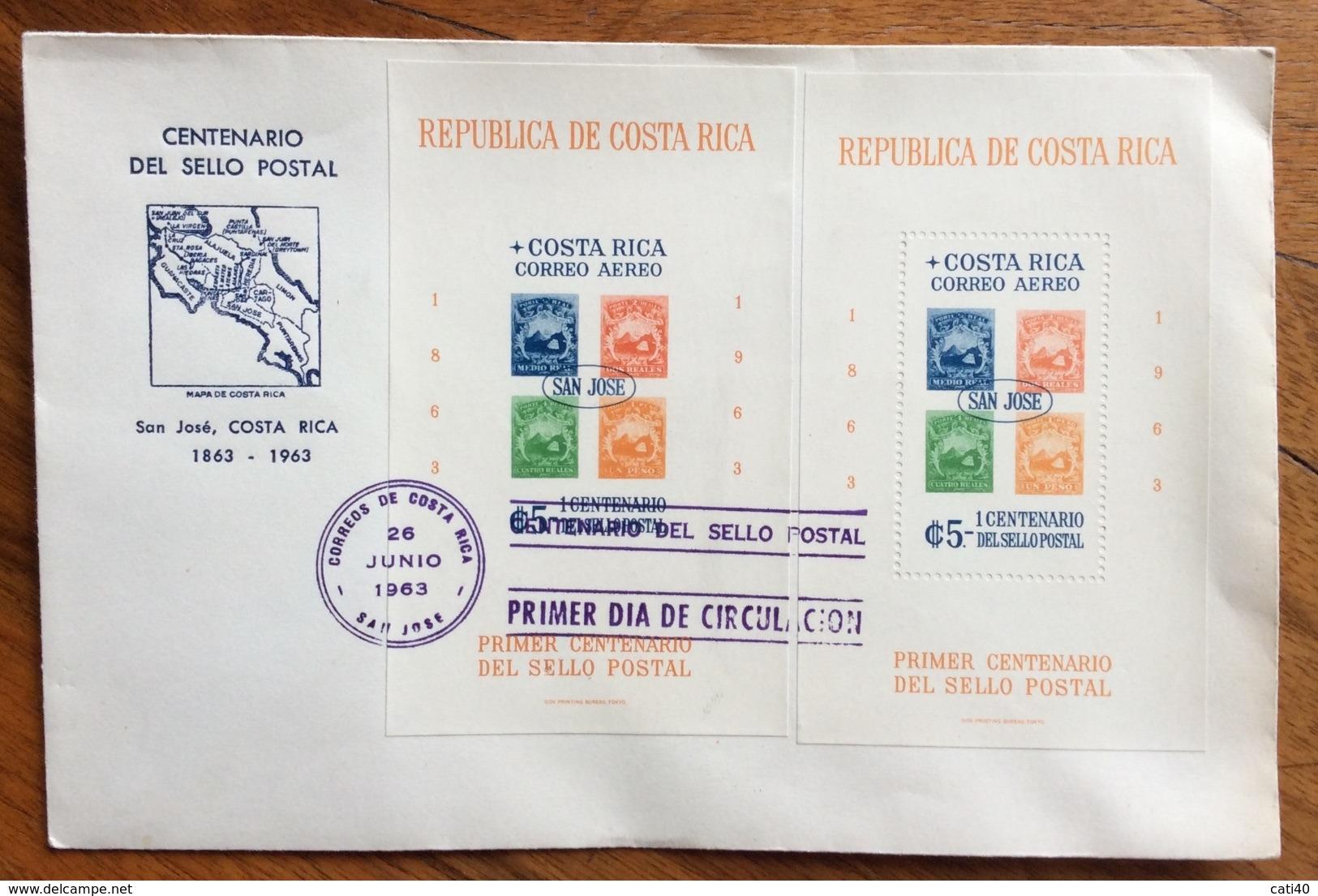 COSTA RICA  FOGLIETTI CENTENARIO DEL FRANCOBOLLO SU BUSTA DEL 1963 - Costa Rica
