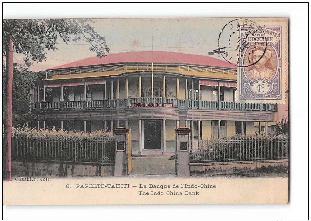 CPA Papeete Tahiti Banque De L'Indo Chine - Polynésie Française