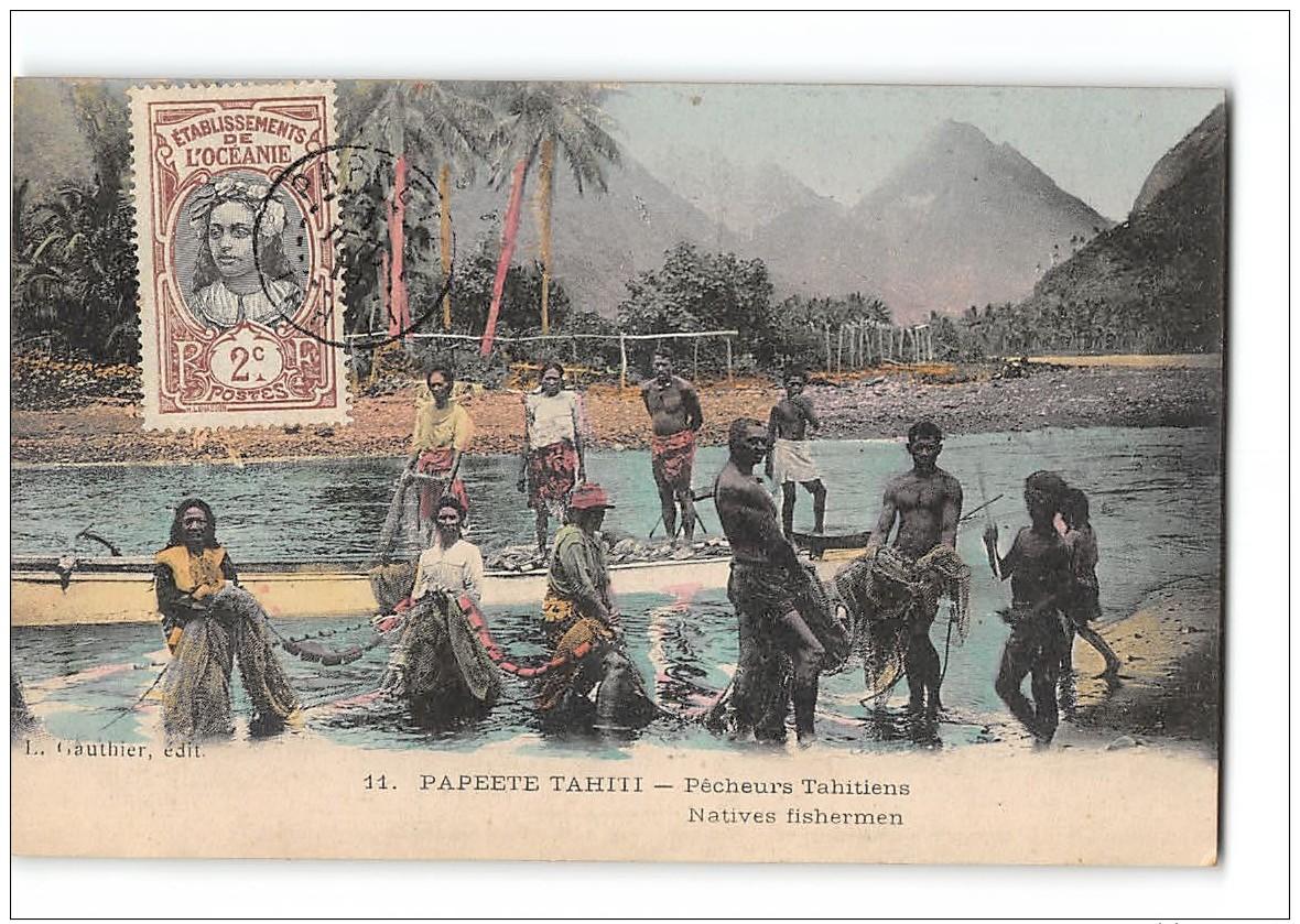 CPA Papeete Tahiti Pêcheurs Tahitiens - Polynésie Française