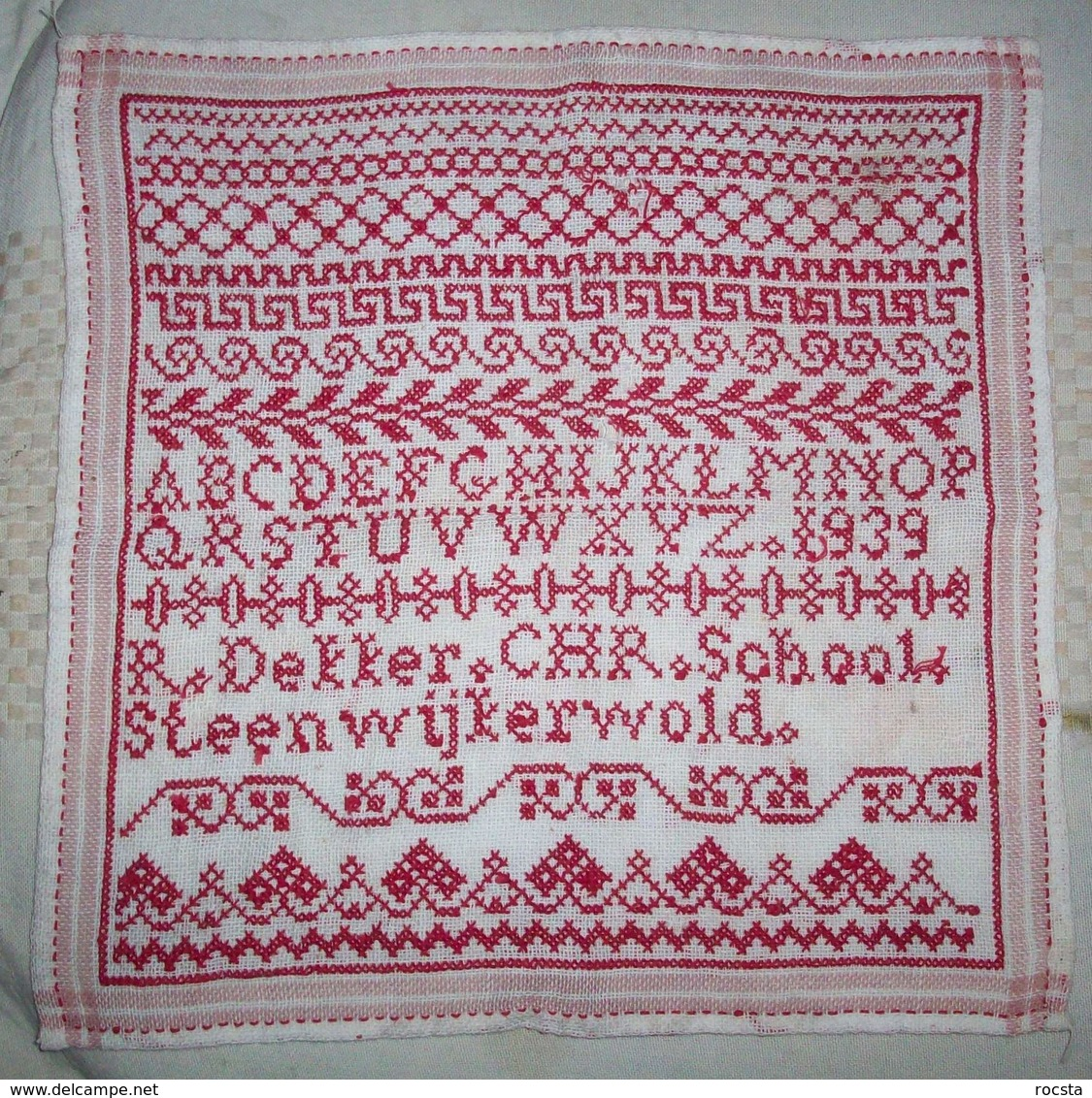 Antique Needlework Napkin R.Dekker CHR School Steenwijkerwold (1939 Dated) - Altre Collezioni