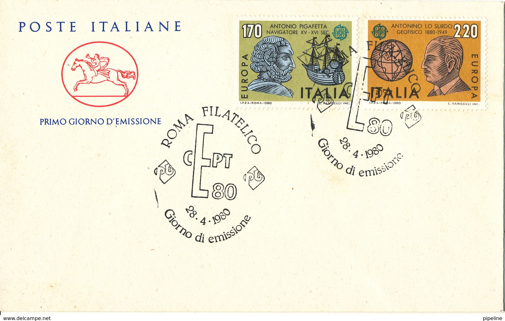Italy FDC 28-4-1980 EUROPA CEPT Complete Set Of 2 With Cachet - Europa-CEPT