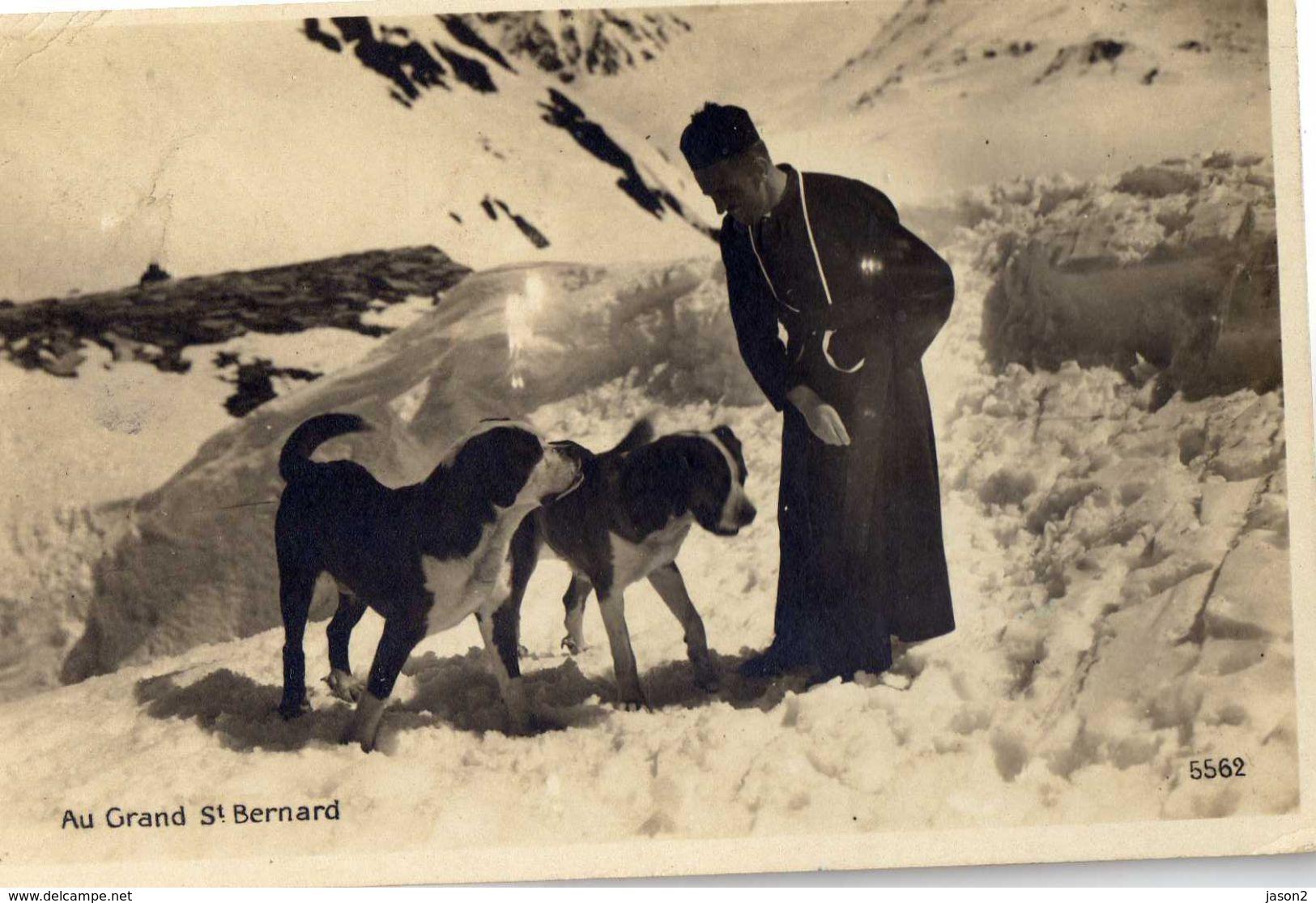 CPSM Chiens St Bernard Avec Pretre Au Grand St Bernard Ecrite Et Timbree - Chiens