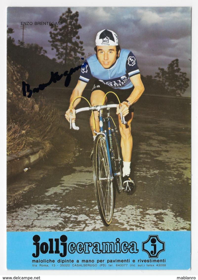CARTE CYCLISME ENZO BRENTEGABI SIGNEE TEAM JOLLJCERAMICA 1974 FORMAT 11,8 X 16,7 - Cyclisme