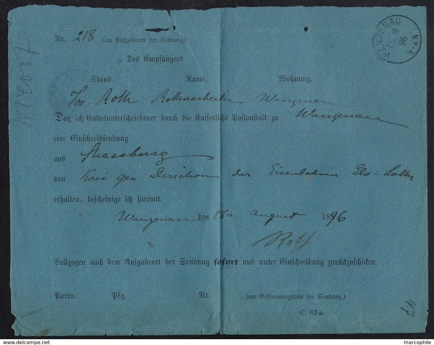 WANZENAU - WANTZENAU - ALSACE / 1896 RECEPISSE DE LETTRE RECOMMANDEE POUR STRASBOURG (ref 7769) - Elsass-Lothringen