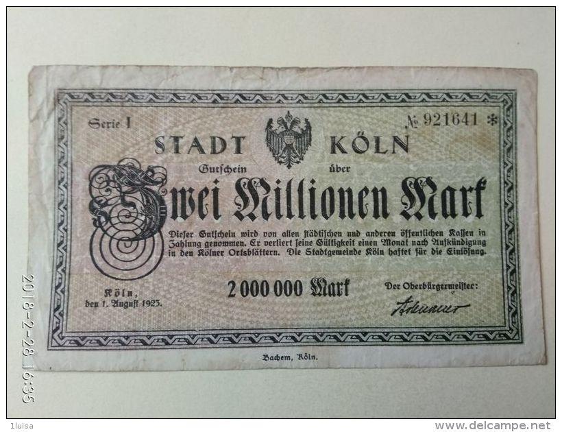Koln 2 Milioni Mark 1923 - [11] Emissioni Locali
