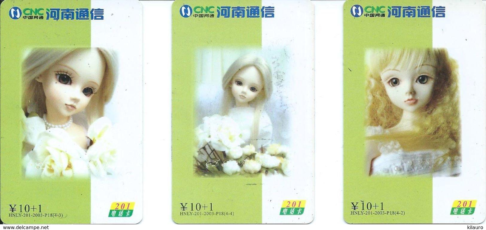 3 Télécartes Chine China Poupée Doll  (D 328) - Chine