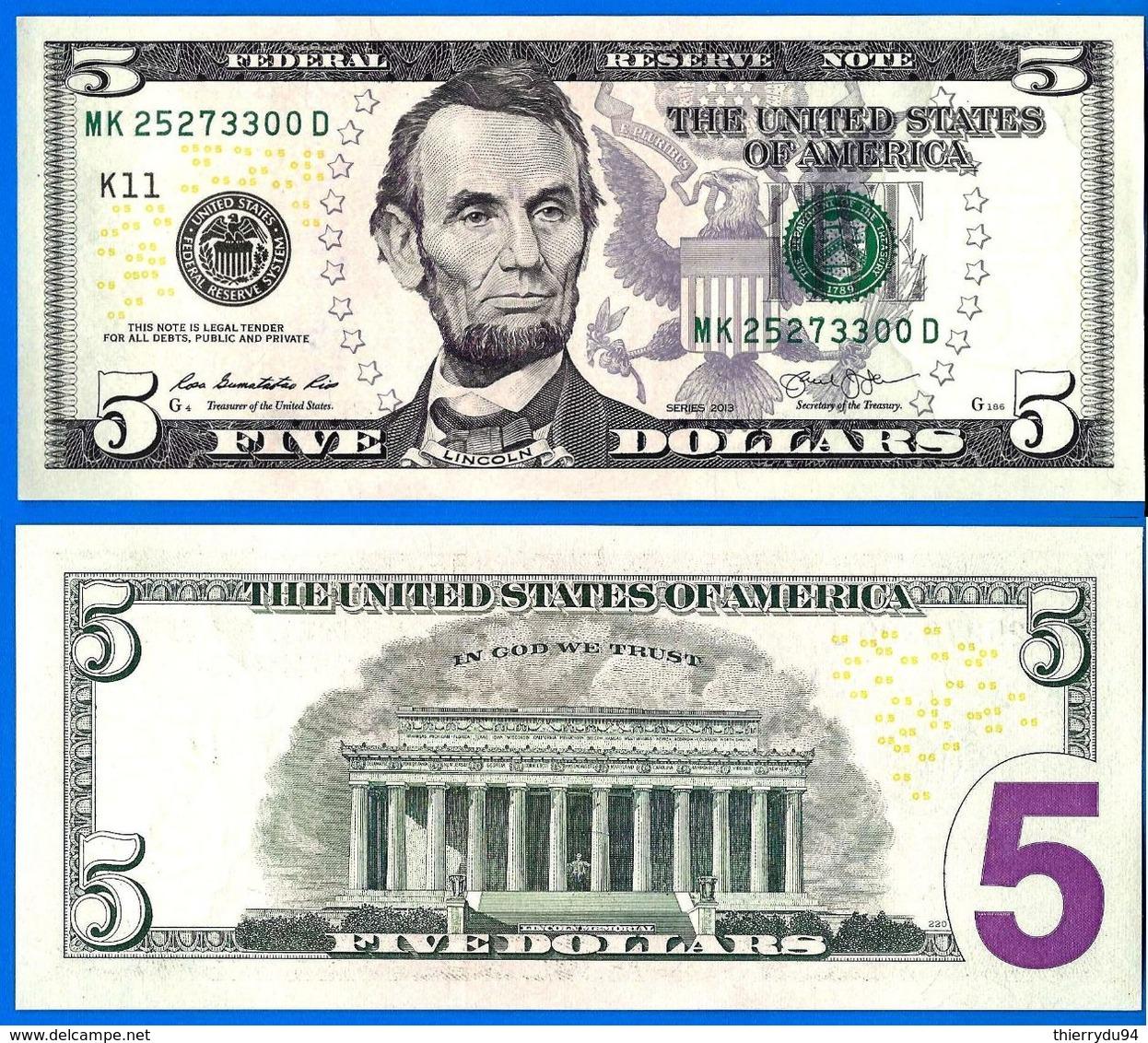 Usa 5 Dollars 2013 Neuf UNC Mint Dallas K11 Suffixe D Que Prix + Port Etats Unis United States Dollars US Skrill Paypal - Large Size (...-1928)
