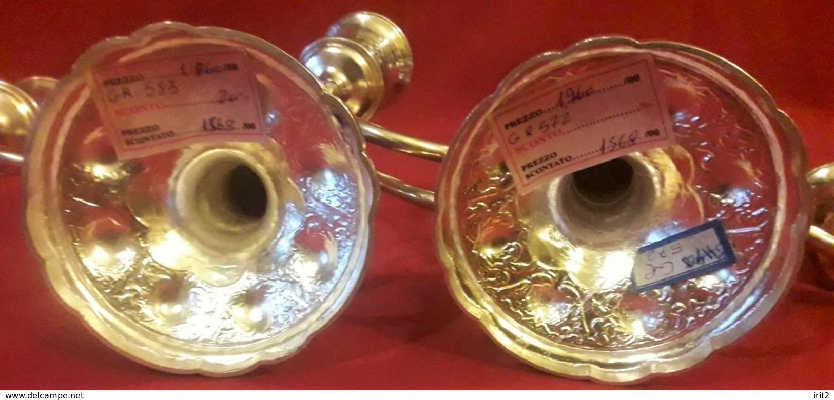 Periodo Della Dinastia Qajar Persia 1800-900 - La Coppia Dei Candelabri In Argento ,incisioni Interamente A Mano - Argenteria