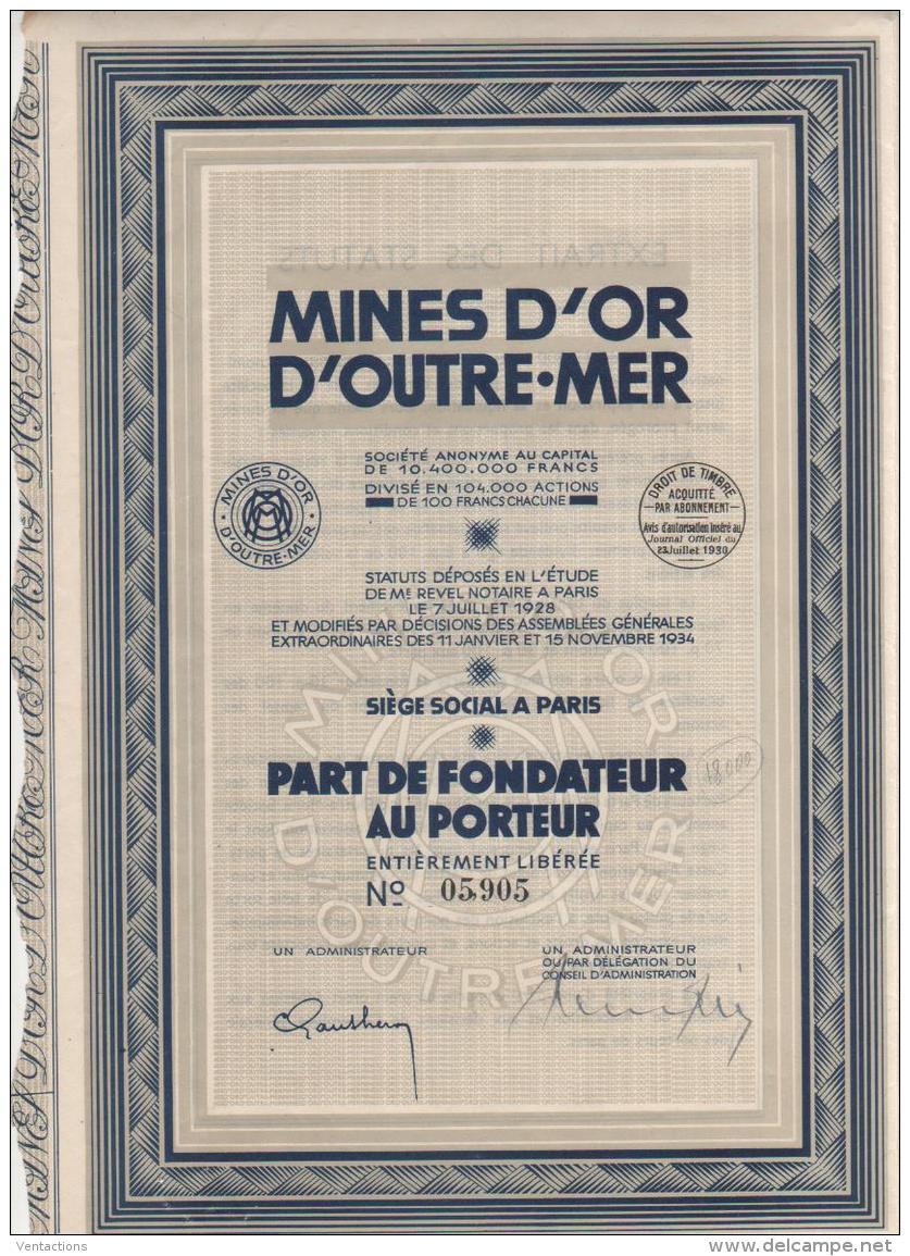 75-MINES D'OR D'OUTRE-MER. Part De Fondateur 1930 - Shareholdings