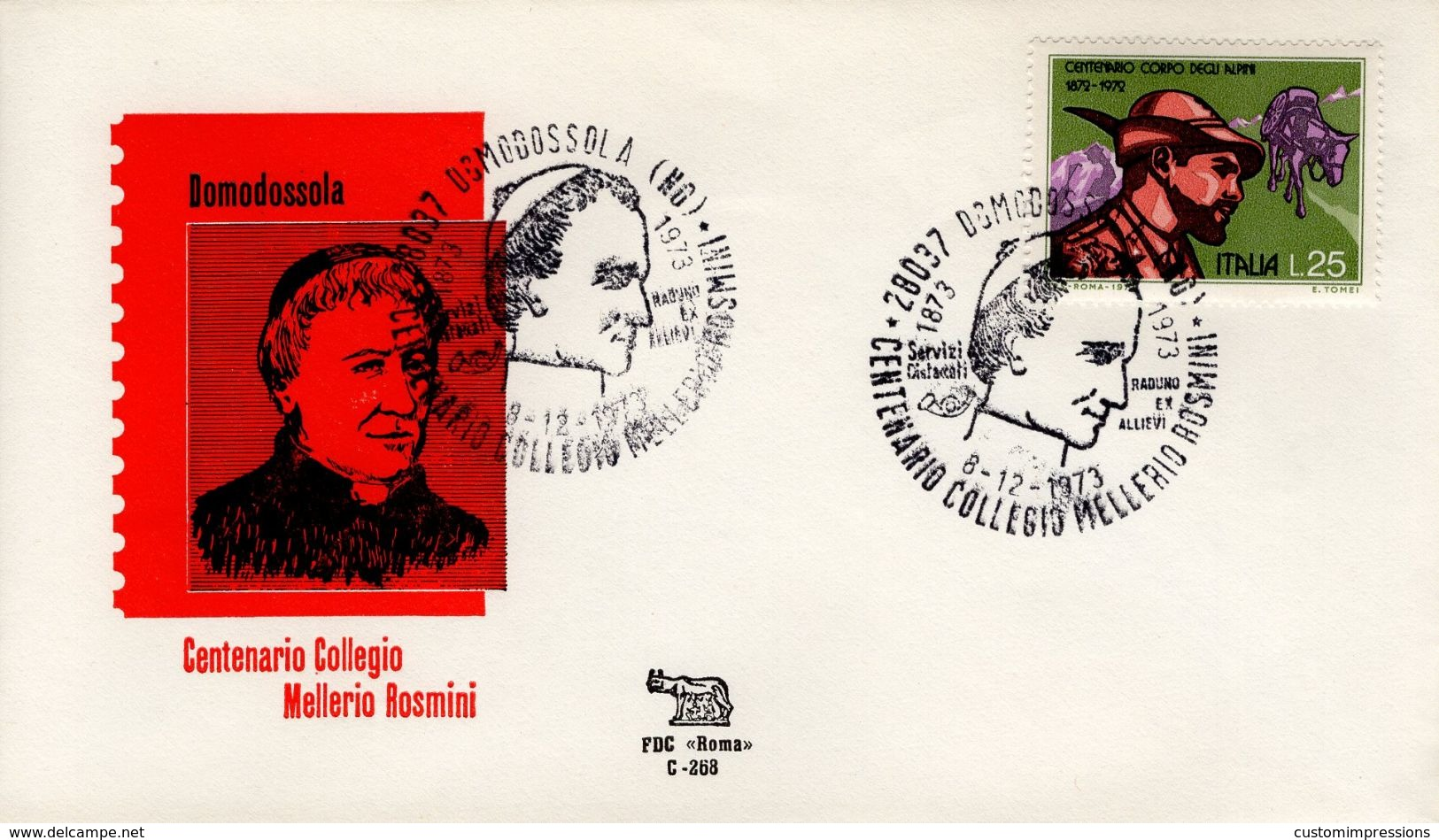 ITALY - 1973 CENTENARY CARDINAL MELLERIO ROSMINI    FDC4222 - 6. 1946-.. República