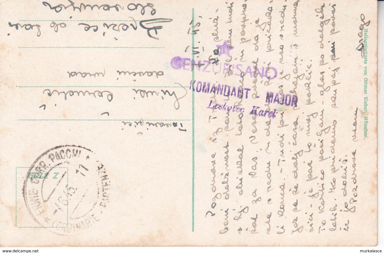 1545   SLOVENIJA    AK- TRST  -TRIESTE  1945  STEMPEL FIUME   CENZURA   MAJOR  LESKOVEC - Slowenien