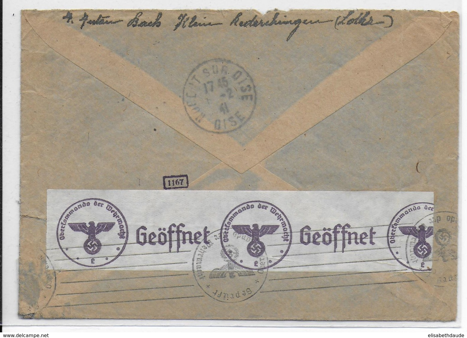 1941 - MOSELLE - OCCUPATION ALLEMANDE - CACHET PROVISOIRE ENVELOPPE Avec CENSURE (VOIR DOS) KLEIN REDERCHINGEN => NOGENT - Marcophilie (Lettres)