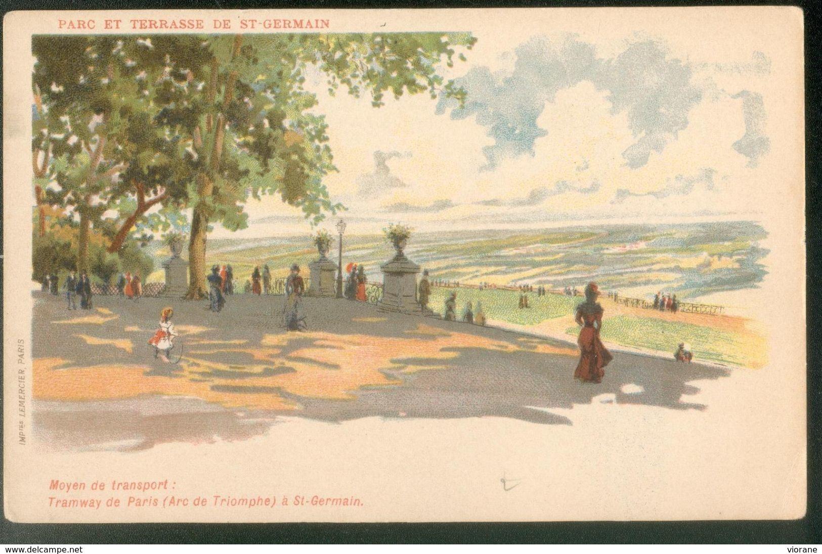 Parc Et Terrasse De St-Germain - Moyen De Transport : Tramway De Paris - Parks, Gardens