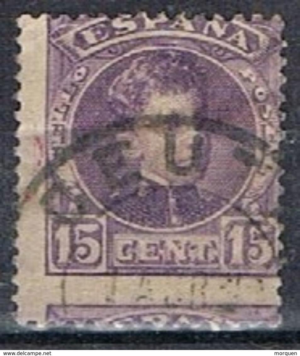 Sello 15 Cts Alfonso XIII Cadete, Fechador CEUTA, Variedad Descentrado, Salto De Peine, 246 º - 1889-1931 Reino: Alfonso XIII