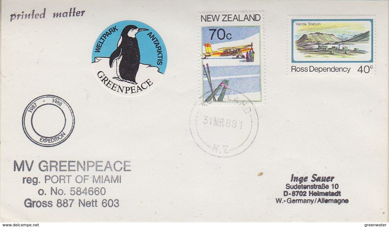 "New Zealand 1988 MV Greenpeace Cover + Label ""Weltpark Antarktis"" Cover  (37854) - Poolshepen & Ijsbrekers"
