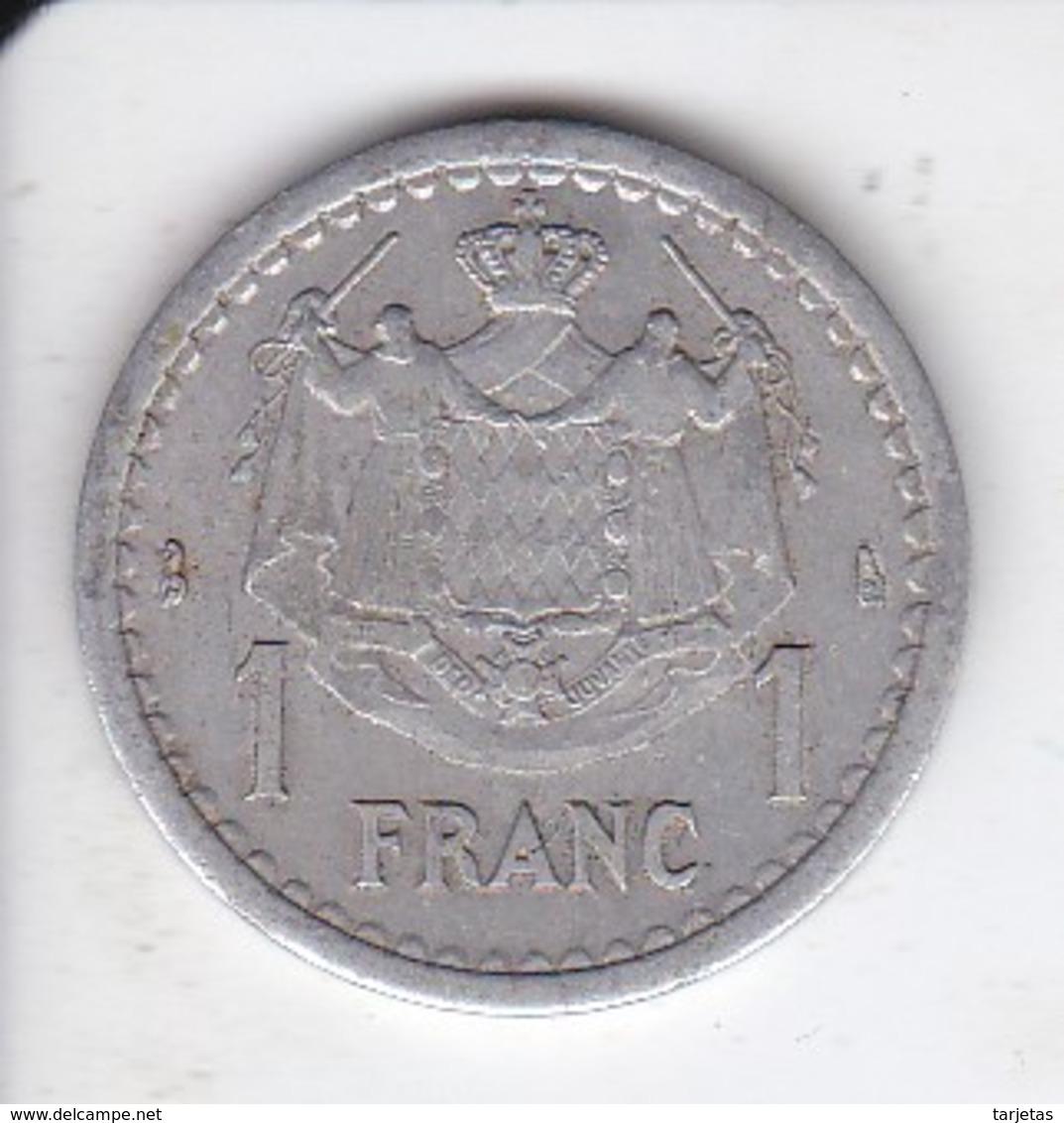 MONEDA DE MONACO DE 1 FRANC DEL AÑO 1944 (COIN) LOUIS II - 1922-1949 Louis II