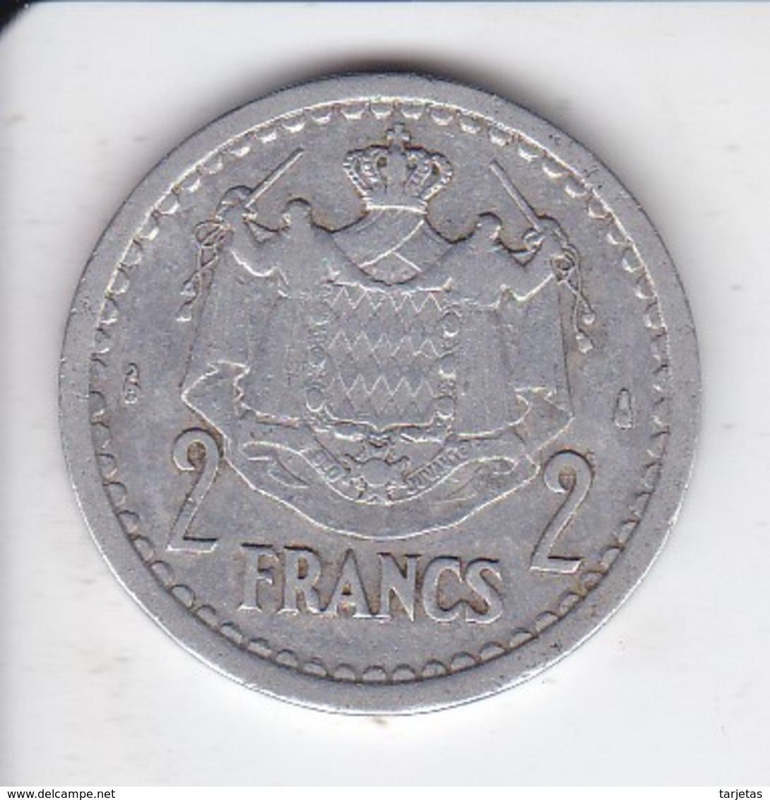MONEDA DE MONACO DE 2 FRANCS DEL AÑO 1944 (COIN) LOUIS II - Mónaco