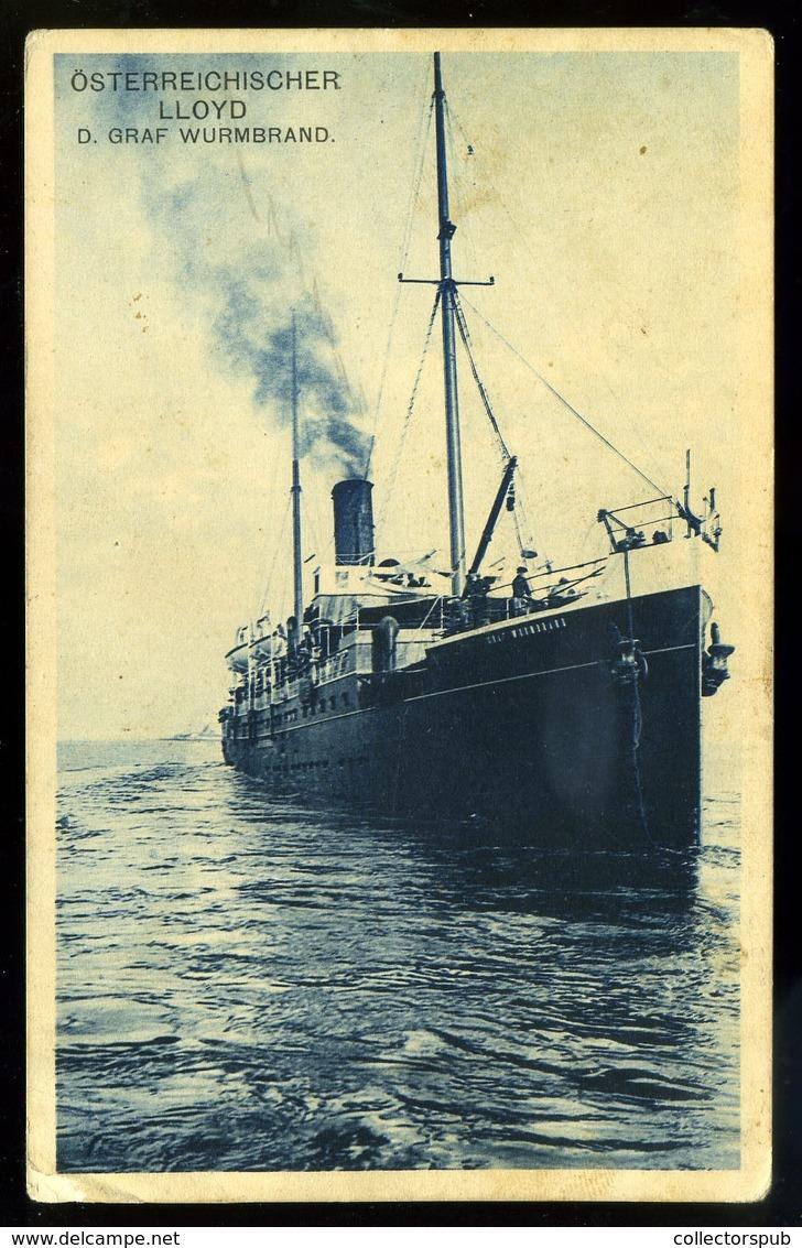 92451 Österreichischer Lloyd Régi Képeslap 1912. - Steamers