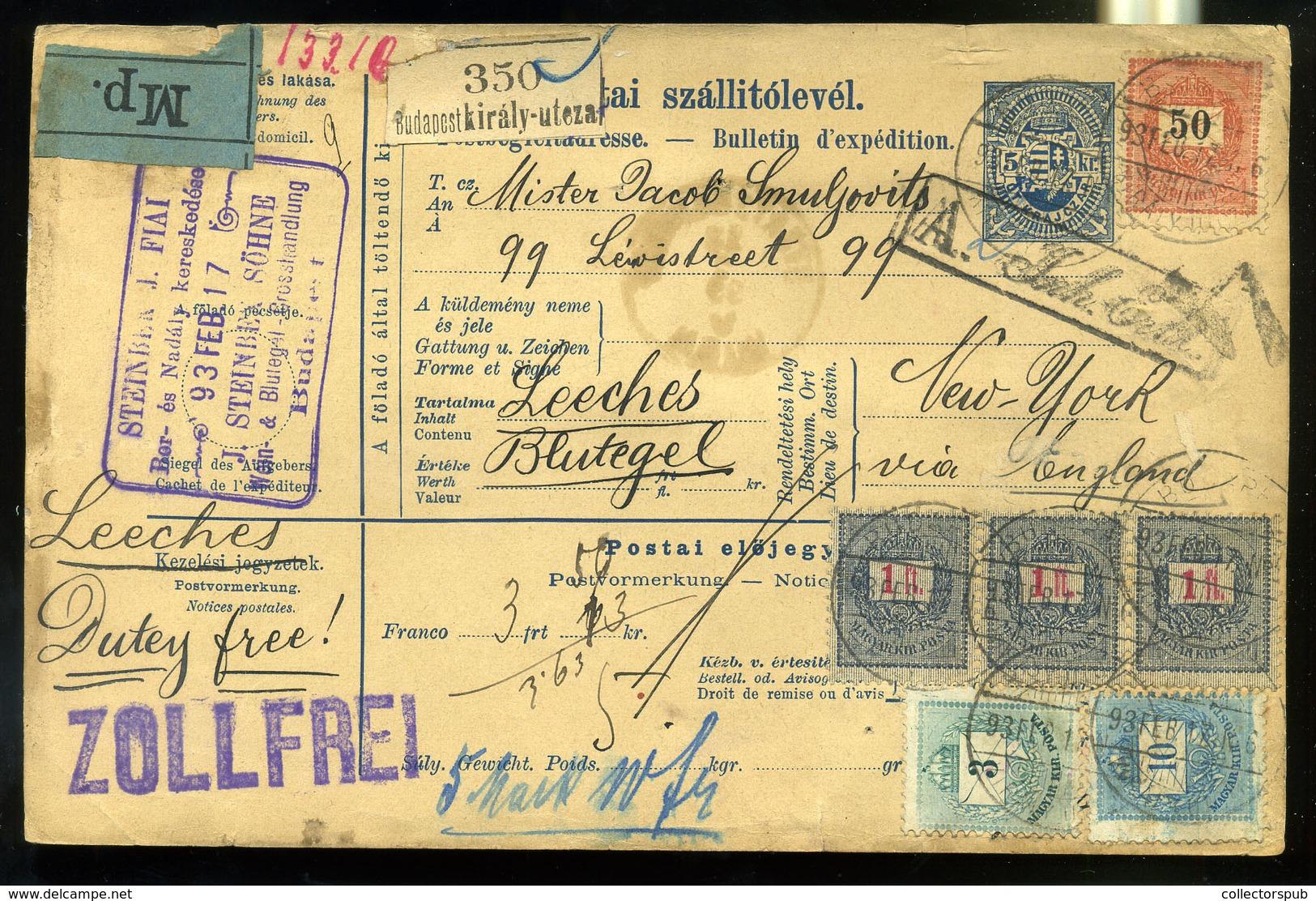 92959 BUDAPEST 1893.Céges Csomagszállító, 3*1Ft (csík)+50Kr+10Kr+3Kr Bérmentesítéssel New Yorkba Küldve. Ritka Darab!  / - Hungary