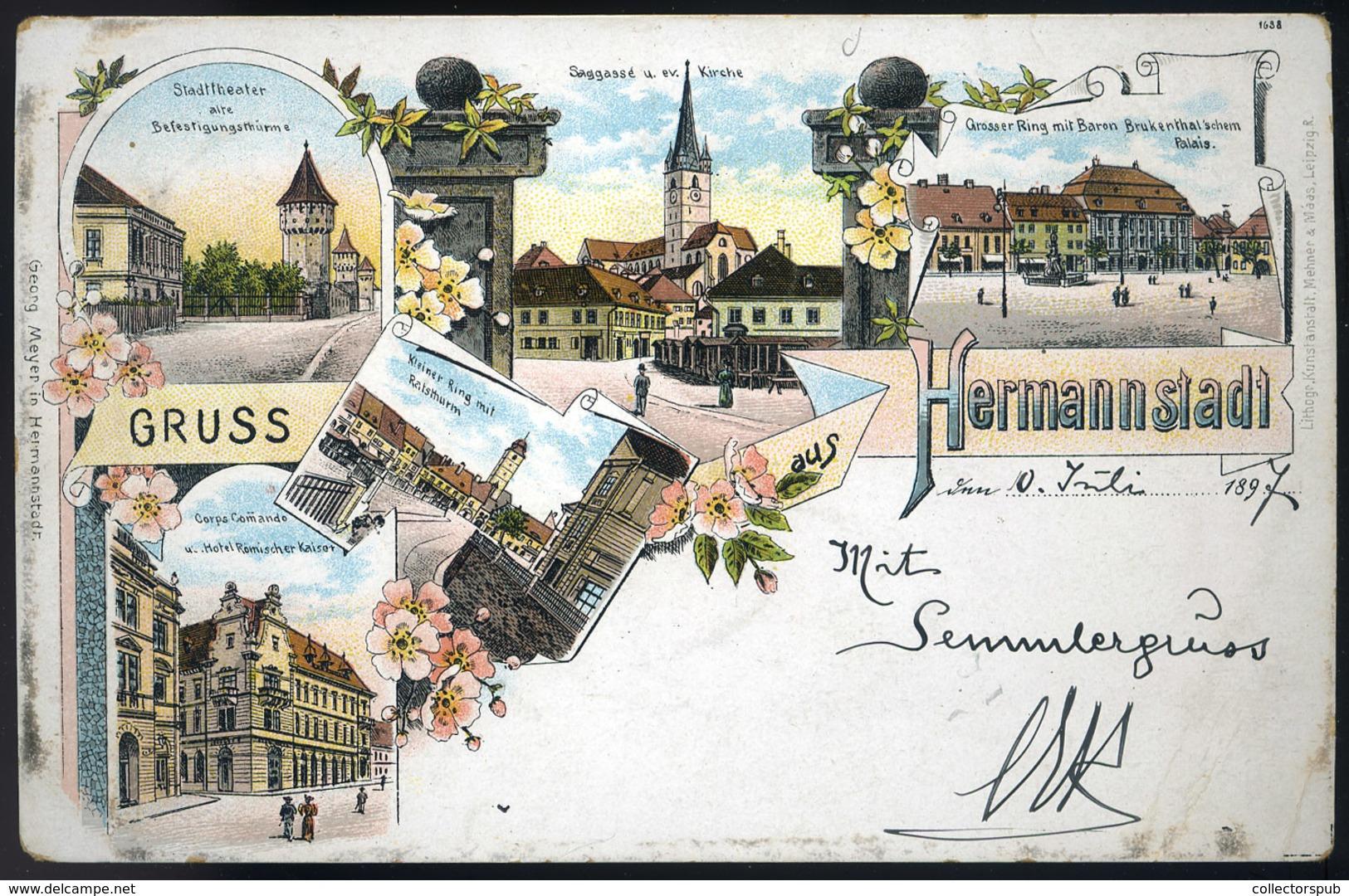 91496 NAGYSZEBEN 1897. Régi Litho Képeslap  /  NAGYSZEBEN 1897 Litho Vintage Pic. P.card - Hungary