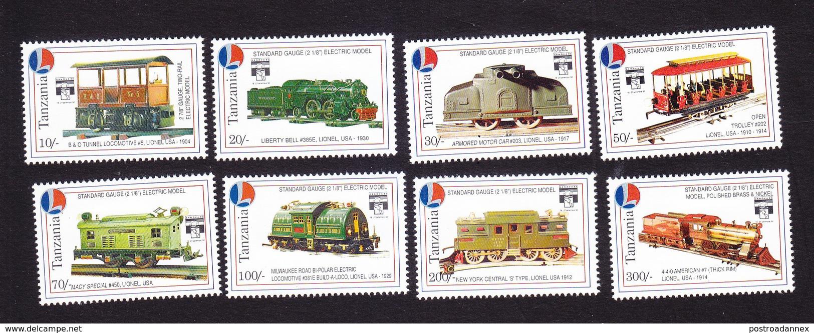 Tanzania, Scott #968-975, Mint Hinged, Model Trains, Issued 1992 - Tanzanie (1964-...)