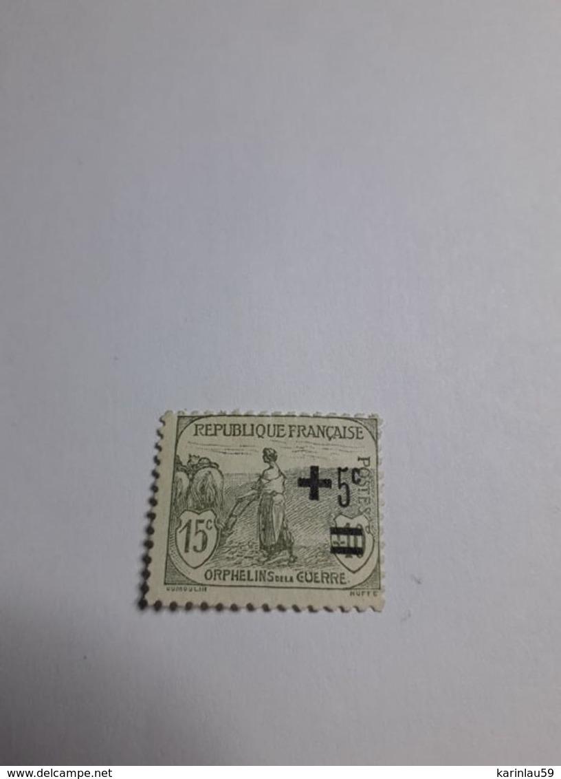 Timbre France 1922 N°164 * (ORPHELINS DE LA GUERRE 2ÈME SÉRIE. FEMME AU LABOUR. +5C SUR 15C + 10C - France