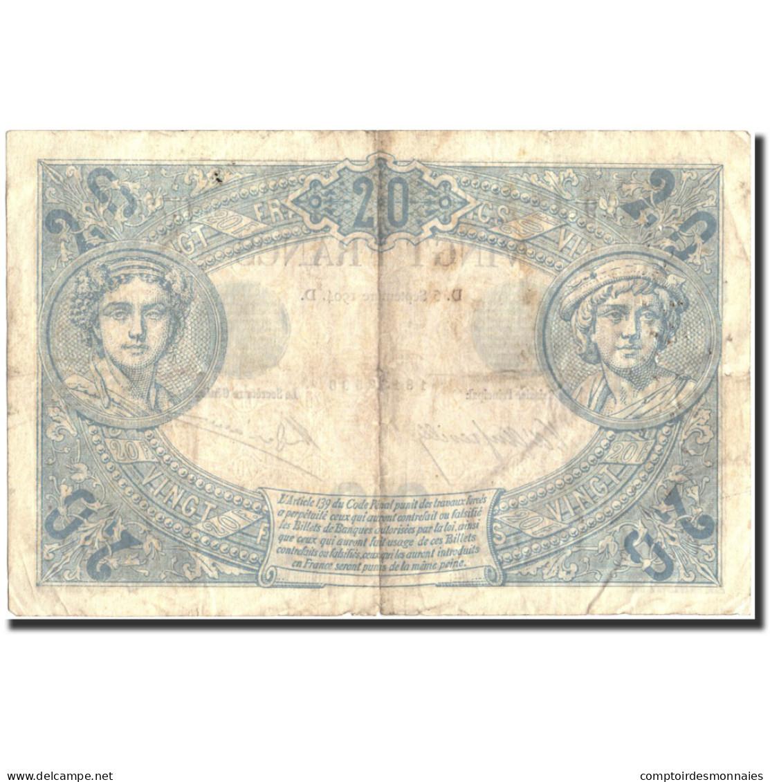 France, 20 Francs, 20 F 1874-1905 ''Noir'', 1904, 1904-09-05, TB, Fayette:9.3 - 1871-1952 Antichi Franchi Circolanti Nel XX Secolo