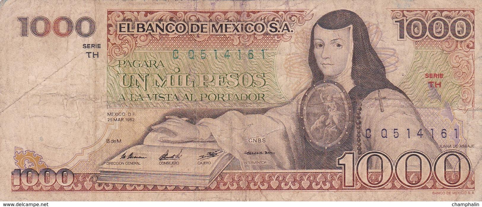 Mexique - Billet De 1000 Pesos - 25 Mars 1982 - Juana De Asbaje - Mexico