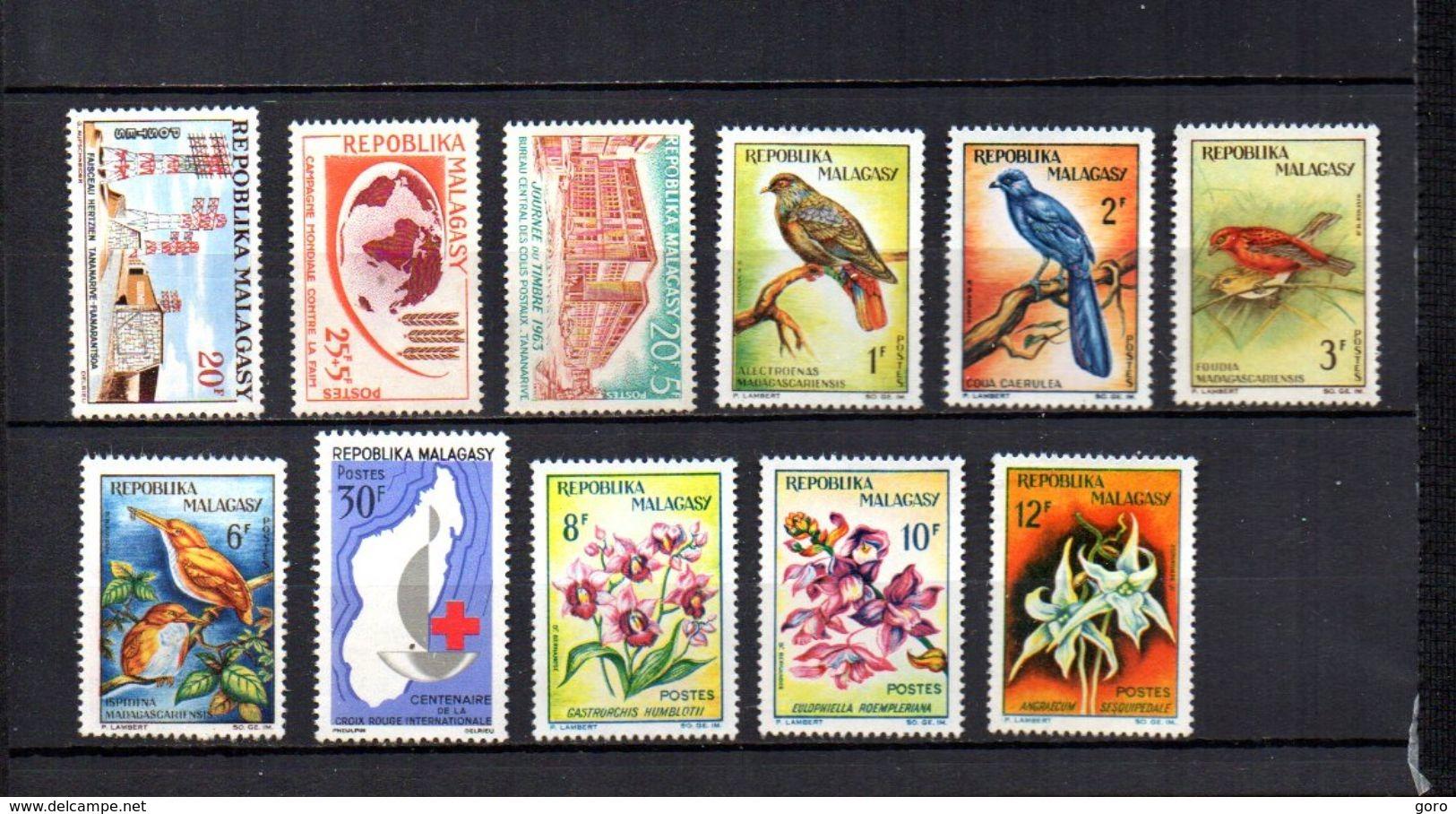 Madagascar   1963  .- Y&T Nº  377-378-379-380/383-384-385/387   (  * Sin Goma  ) - Madagascar (1960-...)