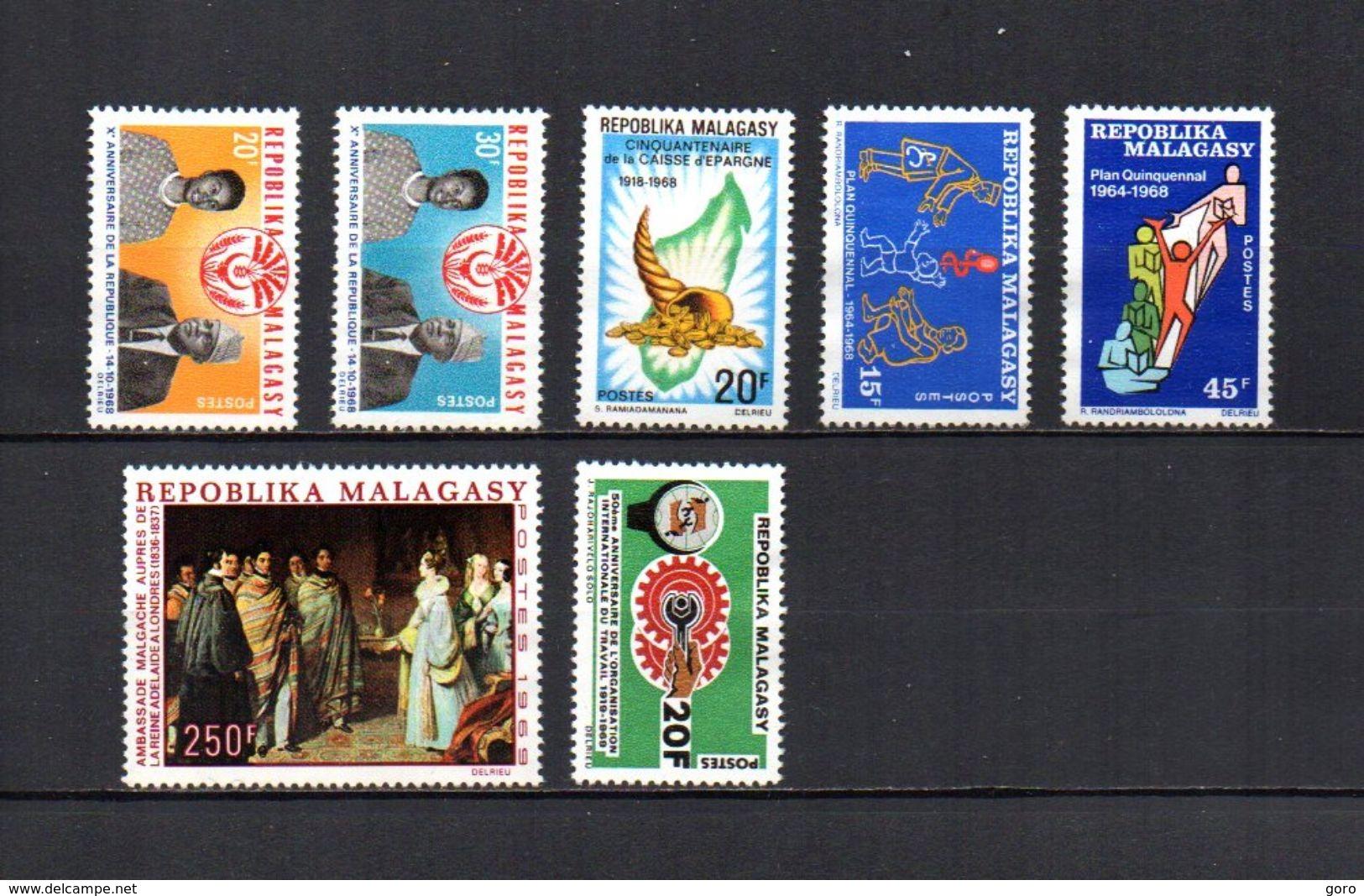Madagascar   1968-69  -   Y&T  Nº   455/456-457-458/459-460-461     (* Sin Goma) - Madagascar (1960-...)
