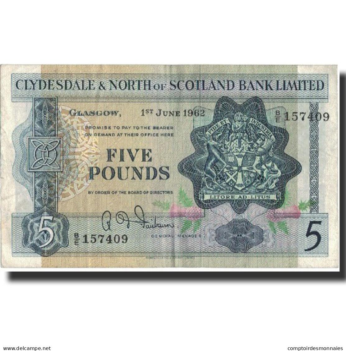 Billet, Scotland, 5 Pounds, 1962, 1962-06-01, KM:196, TTB - [ 3] Scotland