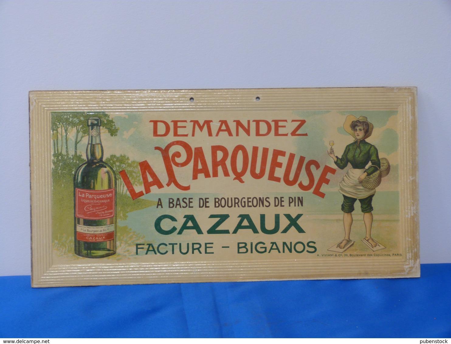 """Publicité  Cartonnée """"LA PARQUEUSE"""". - Plaques En Carton"""