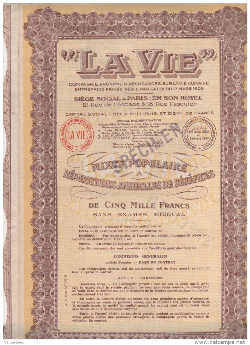 75-VIE. La Vie. Ass Sur La Vie Humaine. Mixte Populaire 5 000 F. - Shareholdings