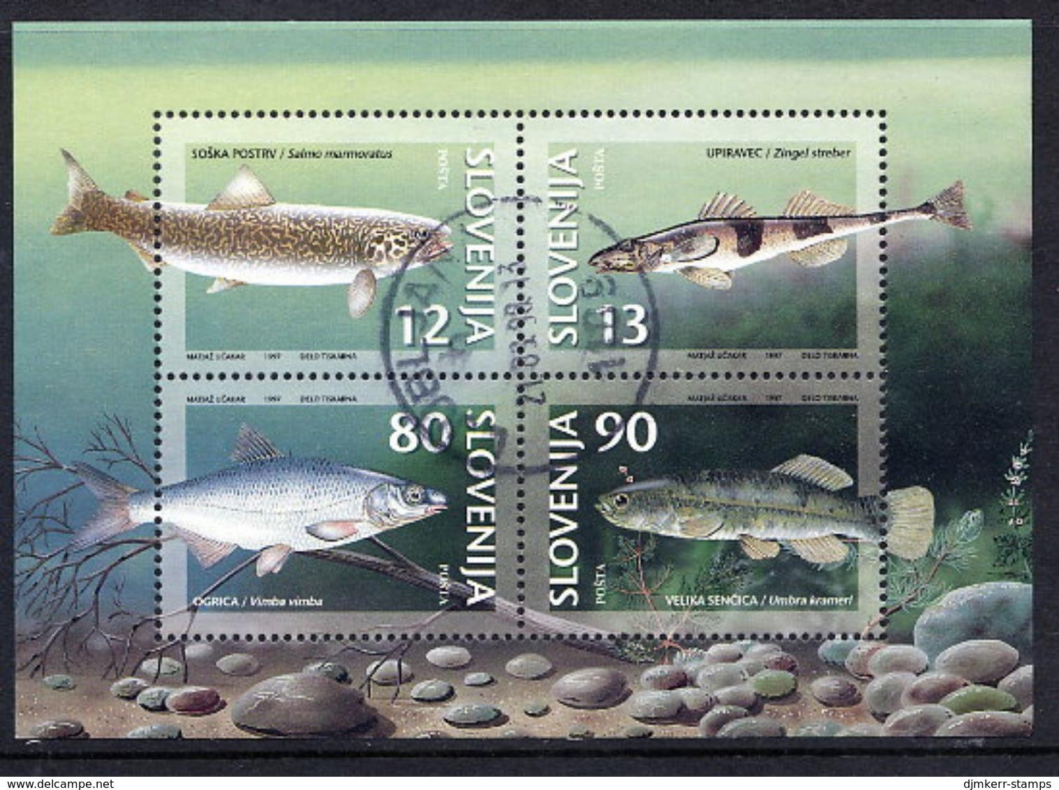 SLOVENIA 1997 Fresh-water Fish Block, Used.  Michel Block 4 - Slovenia