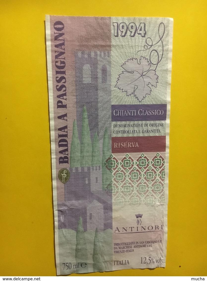 7932 - Badia A Passignano 1994 Chinati Classico Antinori Italie Style Billet De Banque - Andere