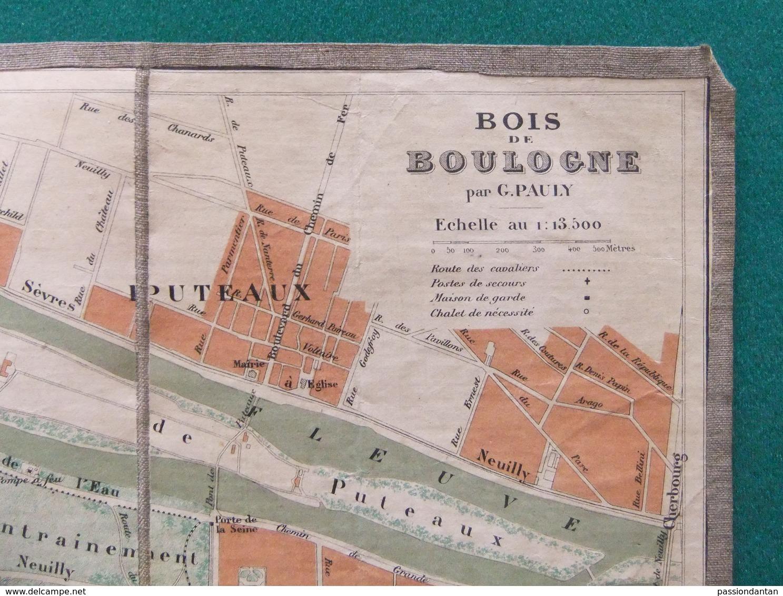 Carte Géographique Toilée - Bois De Boulogne - Cartographe G. Pauly - Landkarten